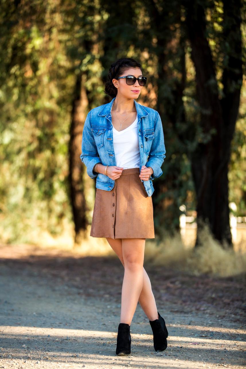 Chân váy da lộn - Món đồ tuyệt vời cho ngày se lạnh