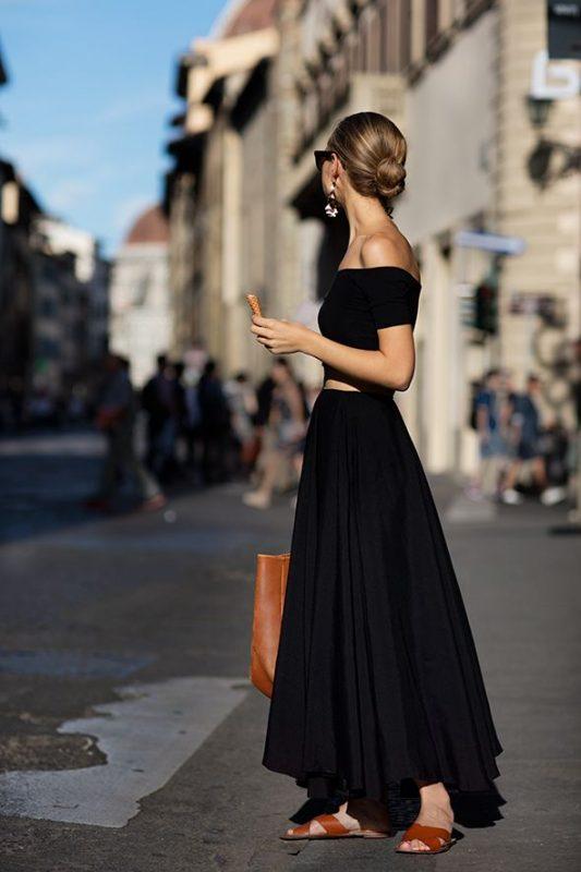 cách mix chân váy maxi đen đẹp
