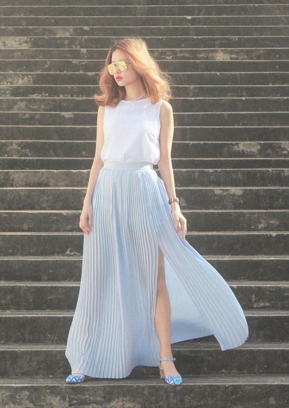 Chọn váy maxi cho từng dáng người form thấp