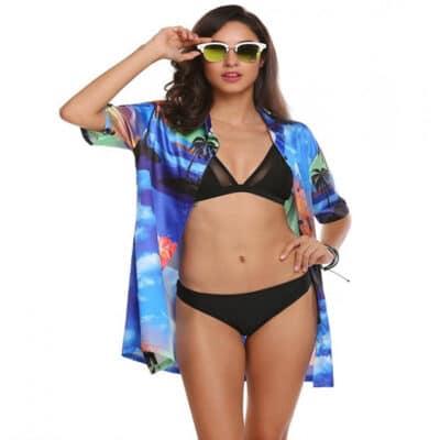 Áo sơ mi mỏng Hawaii mẫu 2 phối cùng Bikini