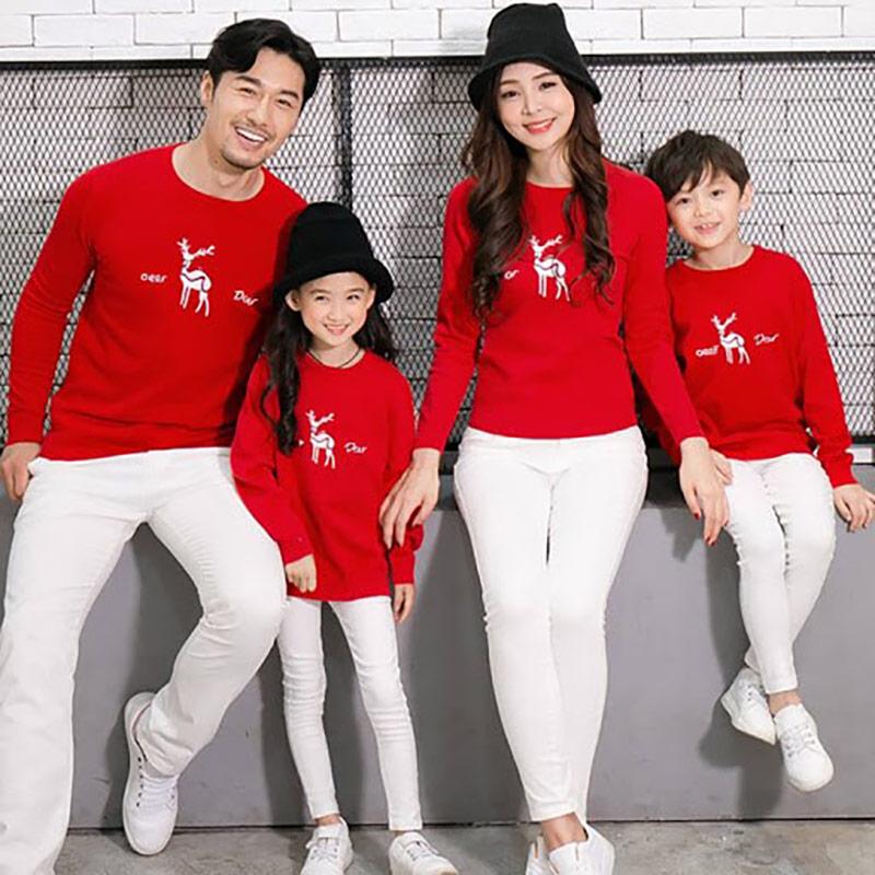 áo nỉ gia đình màu đỏ