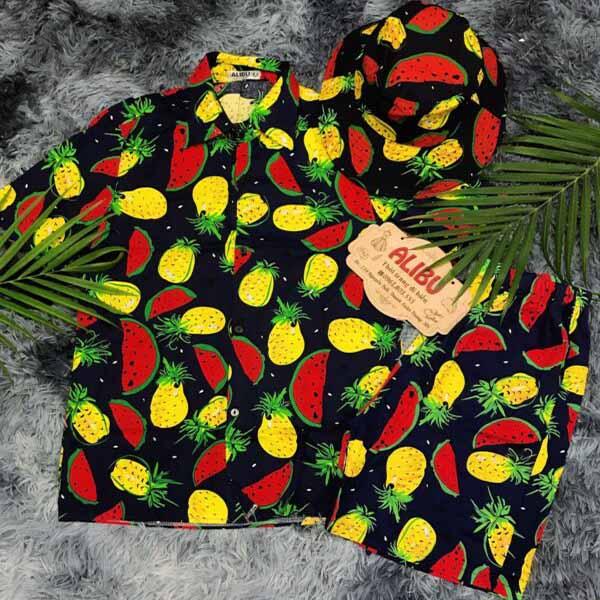 Bộ quần áo sơ mi họa tiết mẫu 417