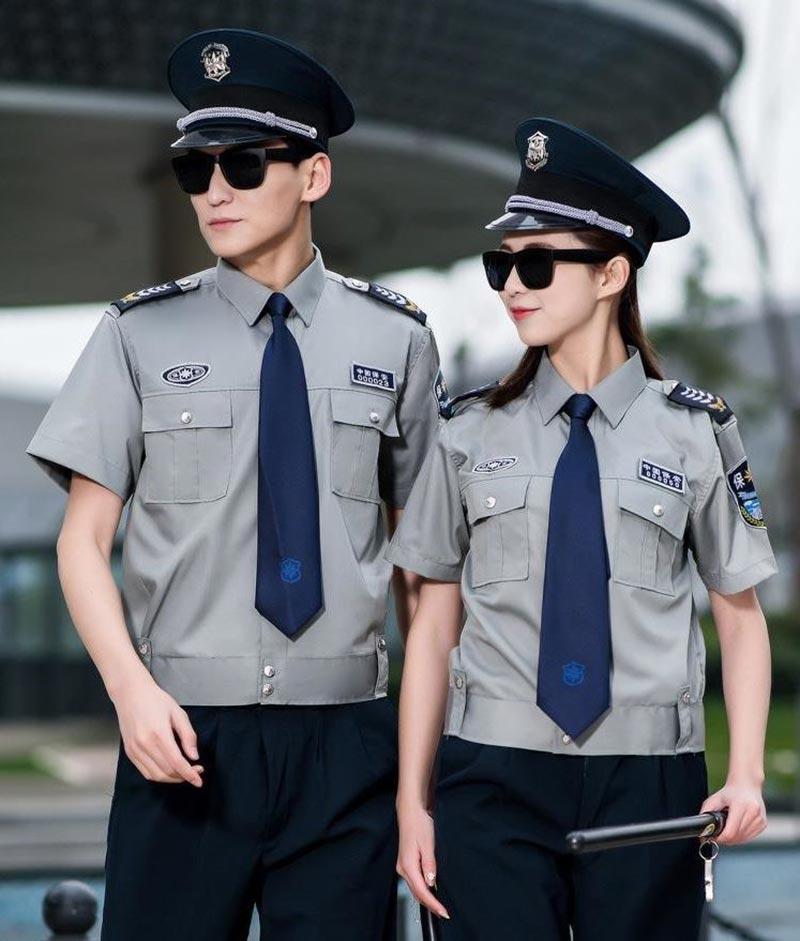 Mẫu đồng phục bảo vệ đẹp với áo sơ mi vào ghi