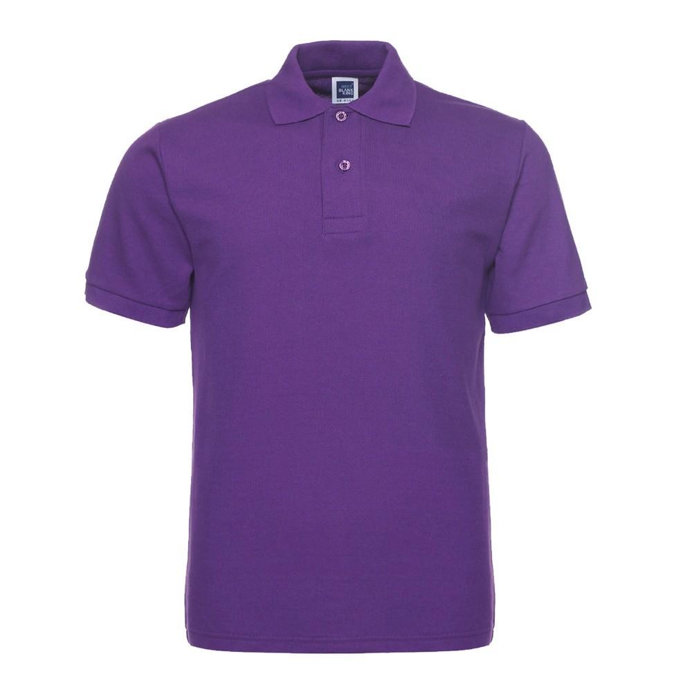 mẫu áo thun đồng phục có cổ kiểu classic màu tím được ưa chuộng vì giá rẻ