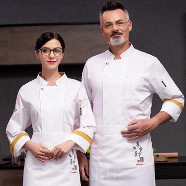 Áo đầu bếp tay dài màu trắng 1