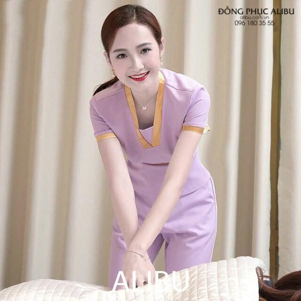 áo đồng phục massage cổ vuông tăng phần quyến rũ, gợi cảm cho nhân viên