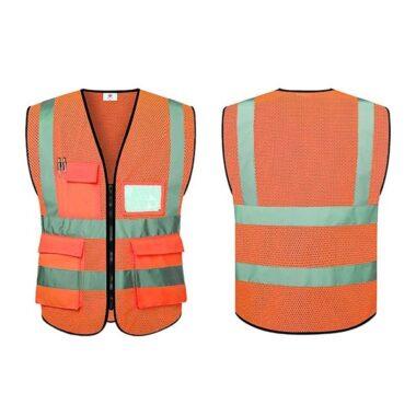 Mẫu áo gile lưới phản quang màu cam