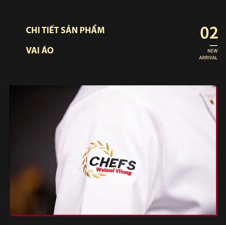 Logo đồng phục bếp được bố trí hợp lí giúp nhận dạng thương hiệu và tạo điểm nhấn cho bộ đồ
